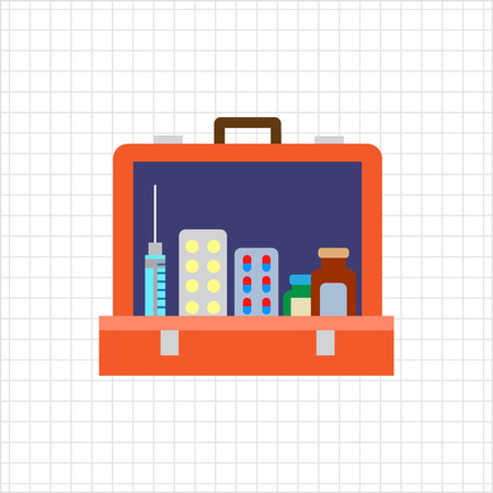 pill box: Multicolored vector icon of open first aid kit with pill bottles, capsules, syringe Illustration