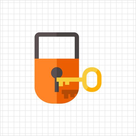 key: Multicolored vector icon of padlock with key Illustration