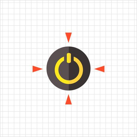turn yellow: Multicolored vector icon of yellow power symbol in black circle with red triangles on sides