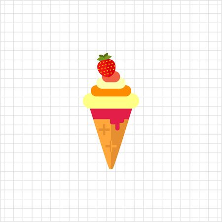 soft ice: Vector icon of soft ice cream with strawberry in waffle cone Illustration