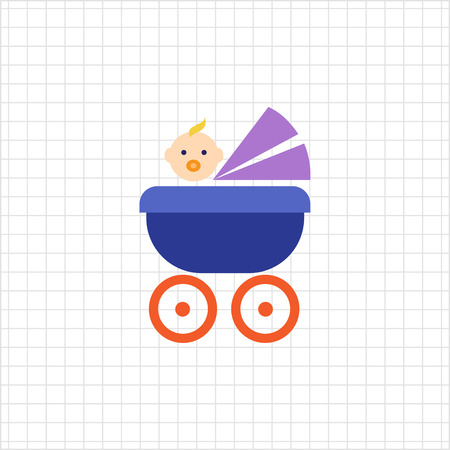 laying: Vector icon of blue, baby carriage with baby with pacifier in mouth