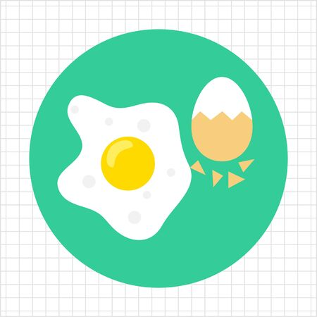 boiled eggs: Icon of fried egg and boiled egg with half-peeled eggshell