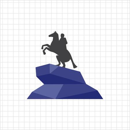 horseman: Icona di vettore di Cavaliere di bronzo statua Vettoriali