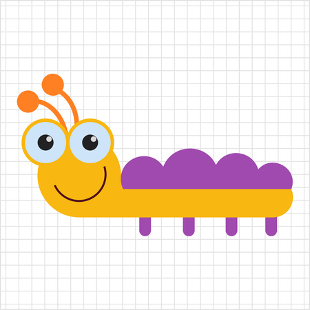 feeler: Vector icon of cute smiling cartoon caterpillar