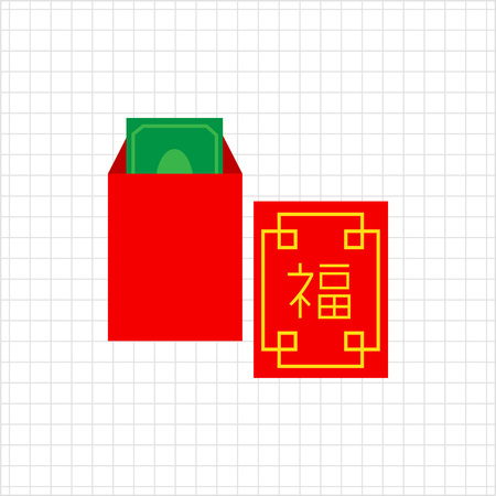 packet: Vector icon of red Chinese New Year money packet Illustration