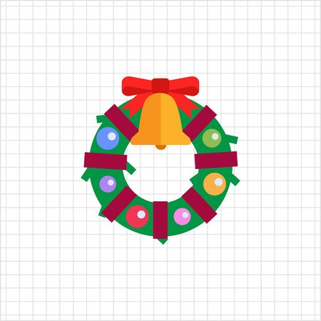 decorated: Vector icon of Christmas wreath decorated with bell