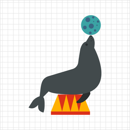 Icon of circus seal holding ball on its nose 向量圖像