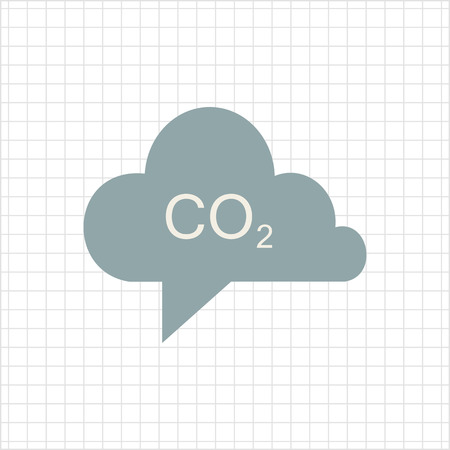 co2: Icon of CO2 sign in grey cloud