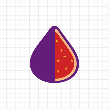 rational: Vector icon of cut fig fruit icon