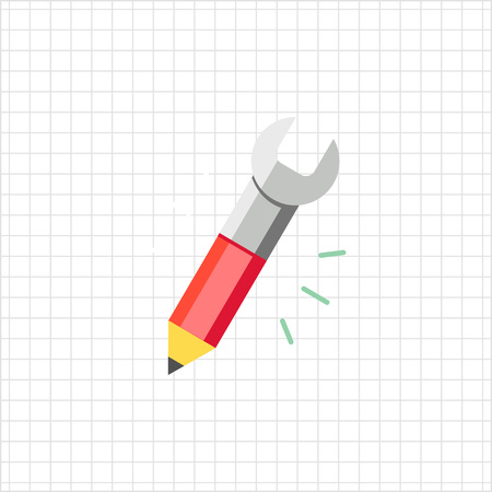 to other side: Icon of pencil with tip and spanner on other side Illustration