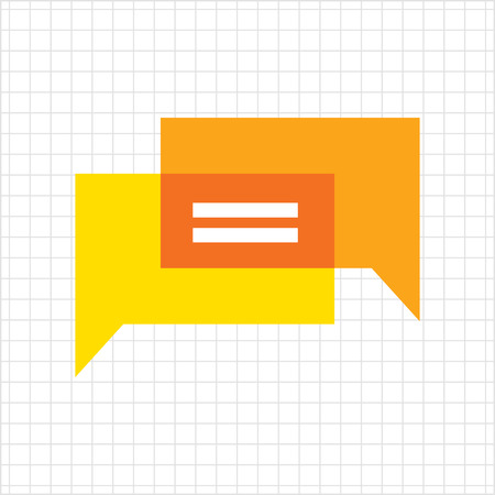 shadow speech: Icon of overlapping speech bubbles with dots Illustration