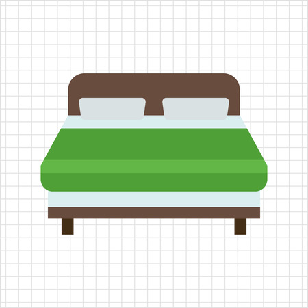 double bed: Icon of wooden double bed covered with green blanket Illustration