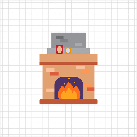 cosy: Vector icon of brick fireplace with flame decorated with photo frames Illustration