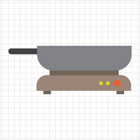 frying: Icon of frying pan standing on hotplate Illustration
