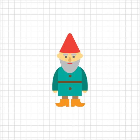 dwarf: Vector icon of sad garden dwarf sculpture