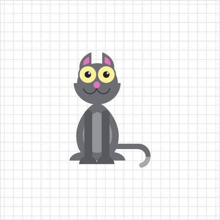 grey cat: Vector icon of cute grey cartoon cat Illustration