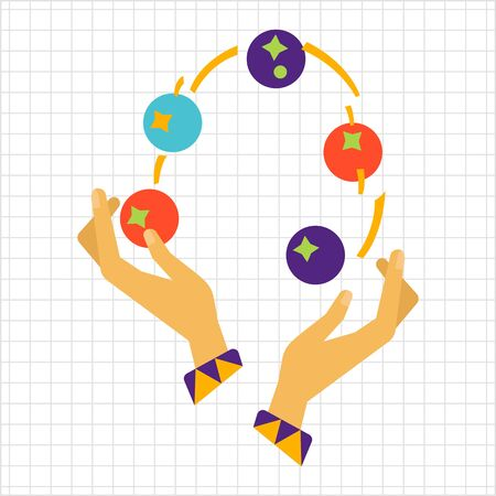 juggling: Icon of human hands juggling with balls Illustration
