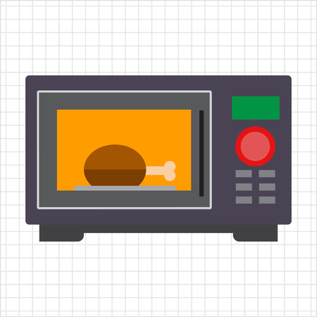 warming up: Vector icon of kitchen microwave oven with meat piece inside