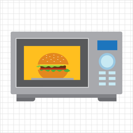 warming up: Vector icon of kitchen microwave oven with hamburger inside