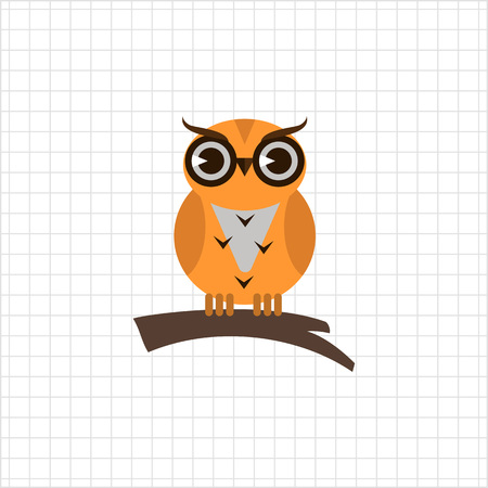 head wise: Icon of owl sitting on tree branch