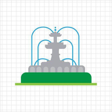 Vector icon of park fountain with water streams Ilustração