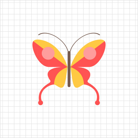 feeler: Red butterfly icon Illustration