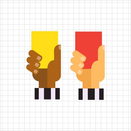 soccer referees hand with red card: Vector icon of referee hands with red and yellow cards