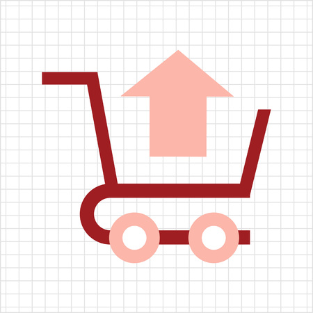 removing: Icon of shopping cart with up-directed arrow Illustration