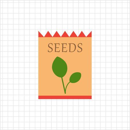 Vector icon of flower seed packet with sprout picture Illustration