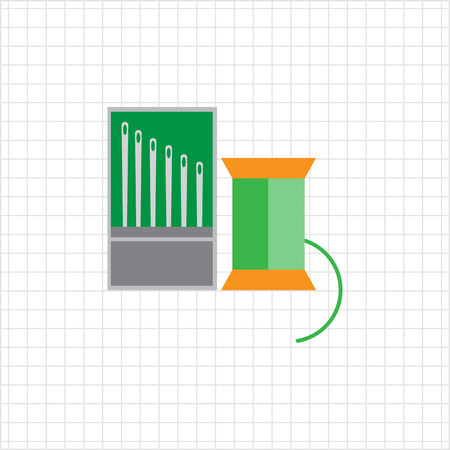 spool: Icon of sewing spool of green thread and needle set