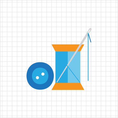 spool: Icon of sewing spool of blue thread, needle and blue button Illustration