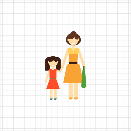 one child: Icon of single-parent family consisting of one woman and one child