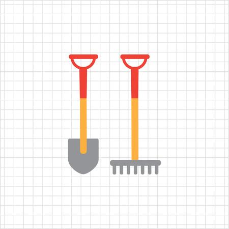 rake: Vector icon of garden spade and rake Illustration
