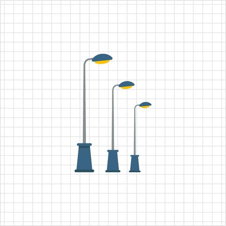 high way: Icon of street lamps standing in row