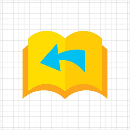 looking through an object: Icon of book with blank pages being turned over and direction arrow