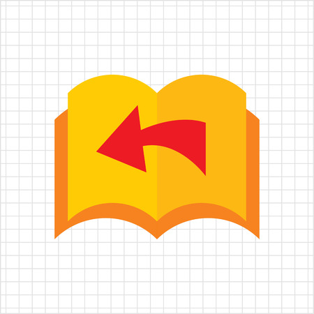 turned: Icon of book with blank pages being turned over and direction arrow