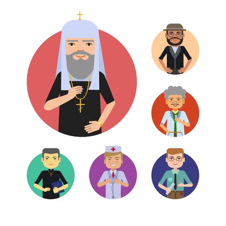 the rabbi: Set of male characters of various ethnicity, age, having different professions