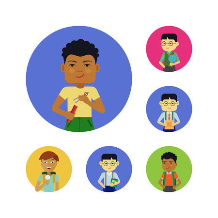 schoolboys: Set of schoolboys characters of various ethnicity, age, holding different objects Illustration