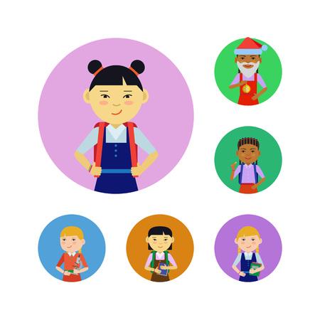 colegiala: Conjunto de caracteres colegialas de varios etnia, la edad, la celebración de diferentes objetos Vectores
