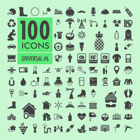 medical scanner: Set of one hundred vector icons with various concepts, isolated on green