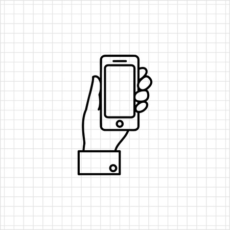 mans: Icon of mans hand holding smartphone