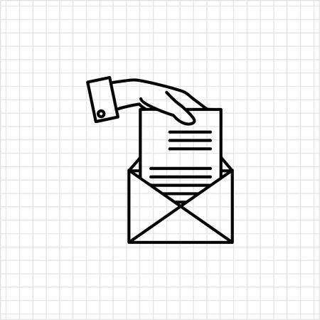 papier a lettre: Icône de la main mans mettre feuille de papier dans l'enveloppe Illustration