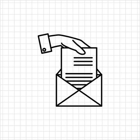 papier a lettre: Icon of mans hand putting sheet of paper into envelope