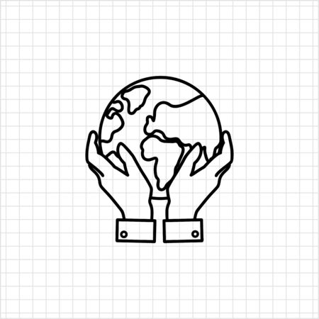 hands holding earth: Icon of mans hands holding Earth globe