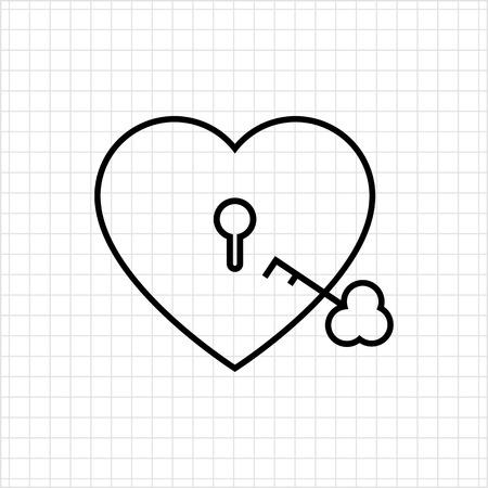 secret love: Icon of heart-shaped padlock with key Illustration