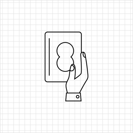 holding credit card: Icon of mans hand holding credit card