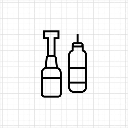 squirt: Icon of ketchup and mustard bottles with dispenser Illustration