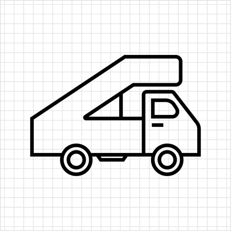ramp: Icon of truck with landing ramp