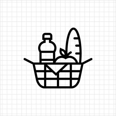 picnic food: Picnic basket icon