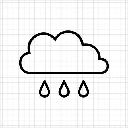 precipitation: Icon of clouds and few falling raindrops